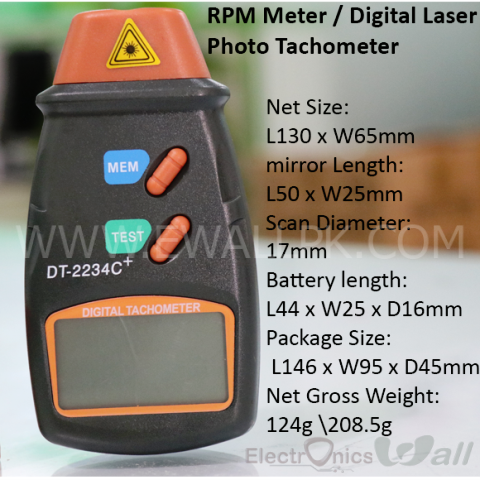 RPM Meter / Digital Laser Photo Tachometer