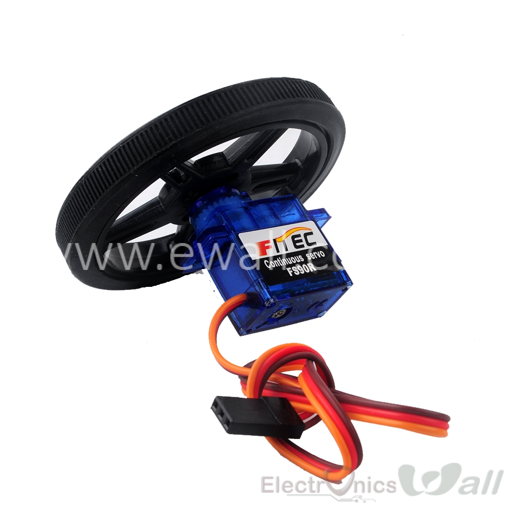 FS90R 360 Degree Continuous Rotation Micro RC Servo with Wheel (6V 1.5KG torque)
