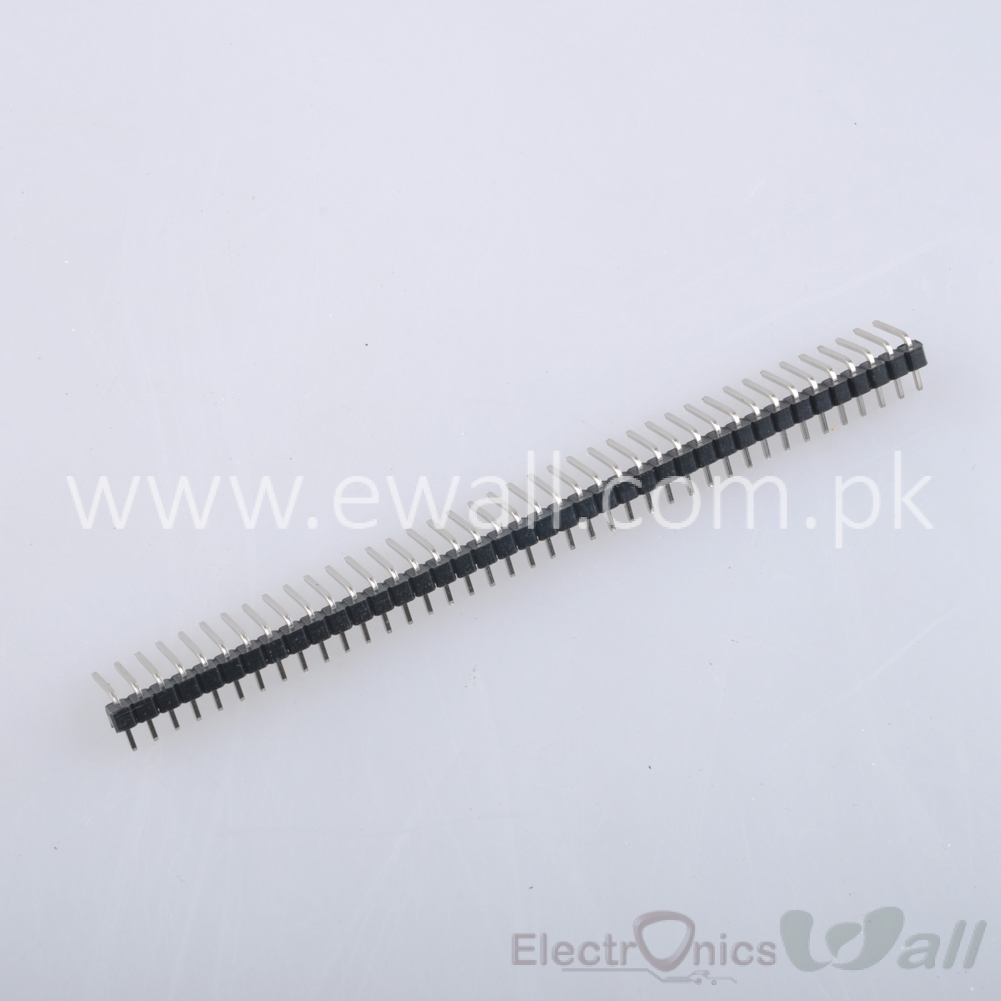 40 Pin 1x40 Pin 2.54mm 20mm Right Angle Single Row Pin Header Connector Male