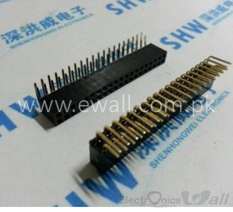Pitch 2.54mm 2x20Pin 40 Pin Female Double Row Right Angle Straight Header Strip Connector Socket