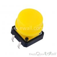 B3F Keys 12 * 12 * 7.3 Buttons with Rounded Cap (Yellow Color)