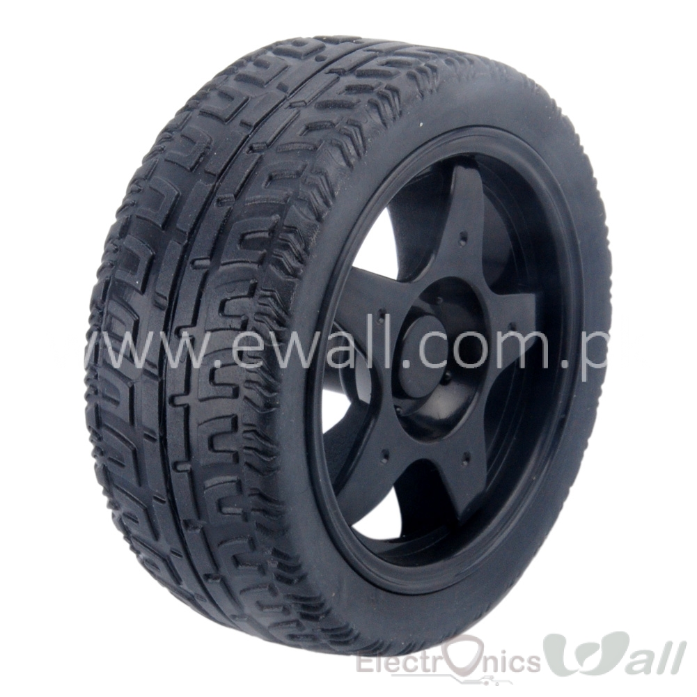 66MM Smart Car Model Plastic Robot Tire Wheel (Black)