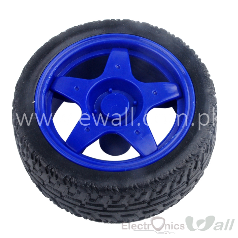 66MM Small Smart Car Model Plastic Robot Tire Wheel (Blue)