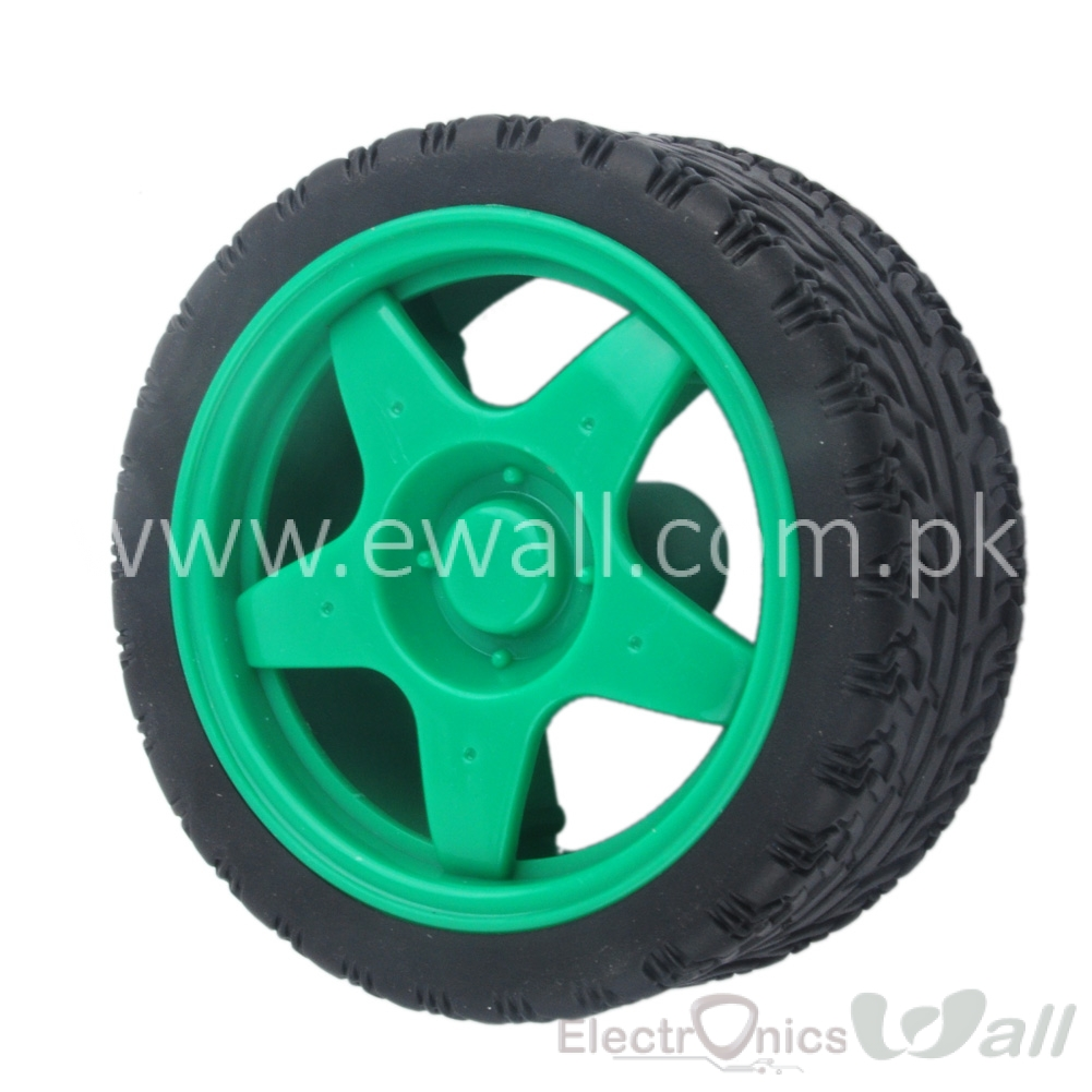 66MM Small Smart Car Model Plastic Robot Tire Wheel (Green)