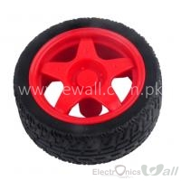 66MM Small Smart Car Model Plastic Robot Tire Wheel (Red)