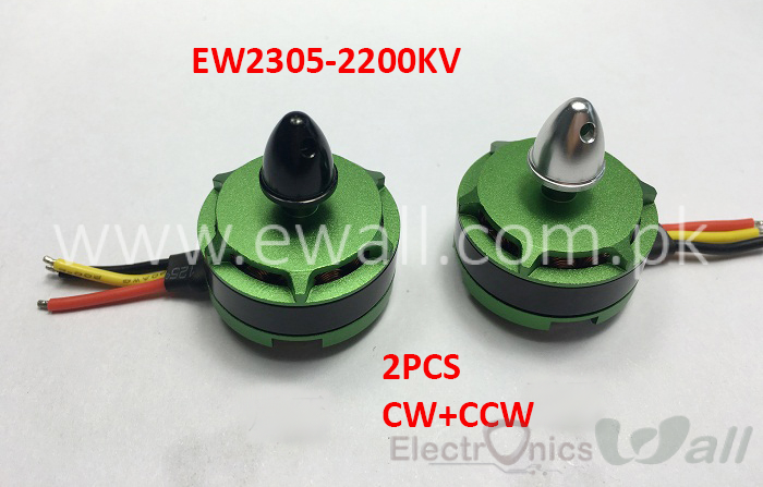 EWALL- EW2305 2200KV Brushless Motor Green with Accessories (2pcs , CW and CCW ) for QAV230/250/280 Racing Quad