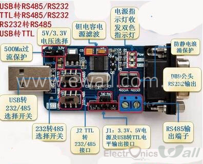 6 in 1 All Communication Module TTL RS232 to RS485,TTL to RS232 RS485, RS232 to RS485