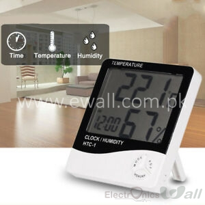 HTC-1 Digital Hygrometer Temperature and Humidity Meter Clock Alarm LCD Display