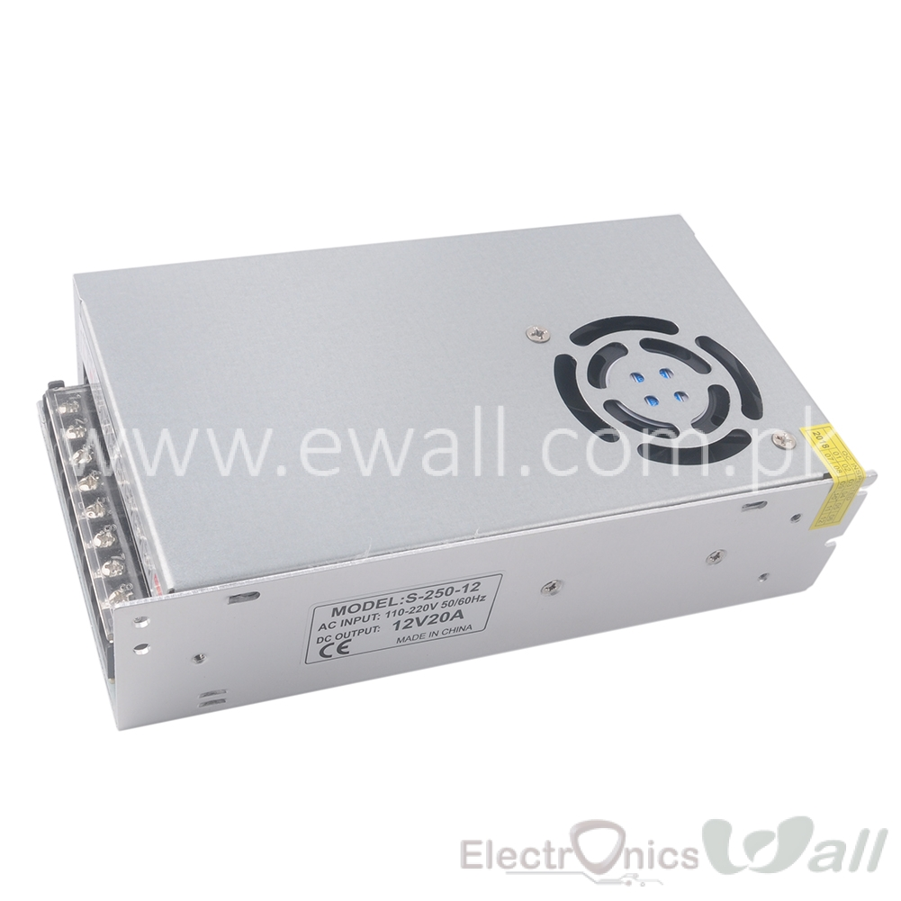 20A 12V  220V AC to DC S-240-12 Switching Power Supply 12VDC 20AMP 240W WITH FAN 199*110*50mm