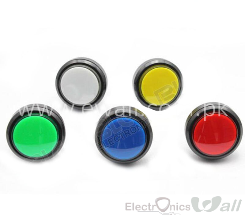 46mm Round Push Button with LED Big Arcade Gaming Pushbutton (Yellow)