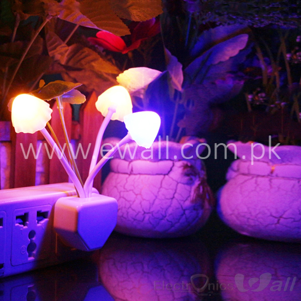 Romantic Colorful Sensor LED Mushroom Night Zero Light Lamp Home Room Decor 0.2W US Plug