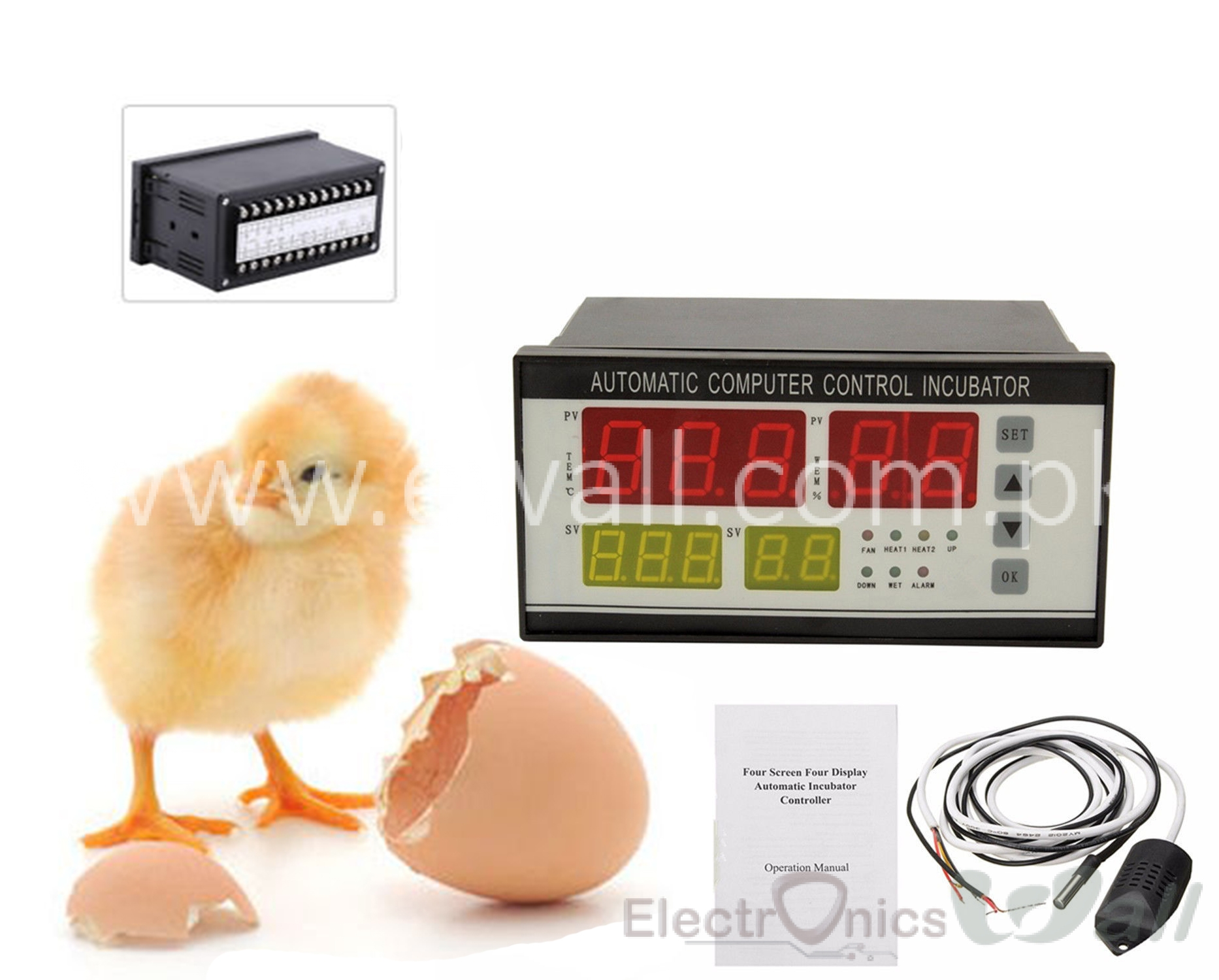 Egg Incubator Controller Thermostat Hygrostat Full Automatic Control with Temperature Humidity Sensor Probe XM-18 110V/220V