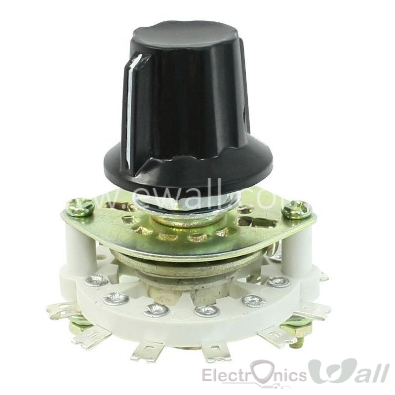 Rotary Switch Selector Plastic Knob 1P6T 1 Pole 6 Throw Band Channel LW