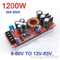 20A 1200W DC Converter Boost Step-up Power Supply Module 8-60V to 12-83V