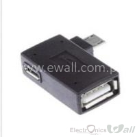 3 in 1 90 degree Left Angle Micro USB 2.0 OTG Host Adapter M to F with USB Power