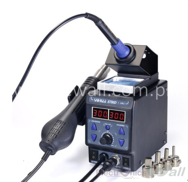 2 in 1 Soldering Station YIHUA-8786D Temperature Hot Air Gun and  Soldering Station Digital Display