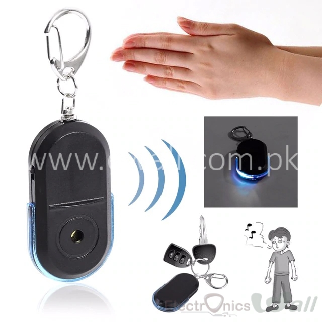 Key Lost Finder Anti-Lost  Alarm Whistle Sound LED Light Locator Finder Keychain