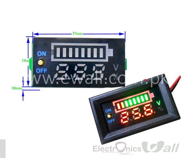 12V Car Battery / 3S Lithium Battery Digital Voltmeter + Capacity Indicator Display Panel with Switch