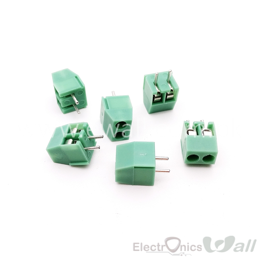 KF350-2P 3.5mm Pitch Screw Terminal Connector 2Pin Straight Copper Leg  Green