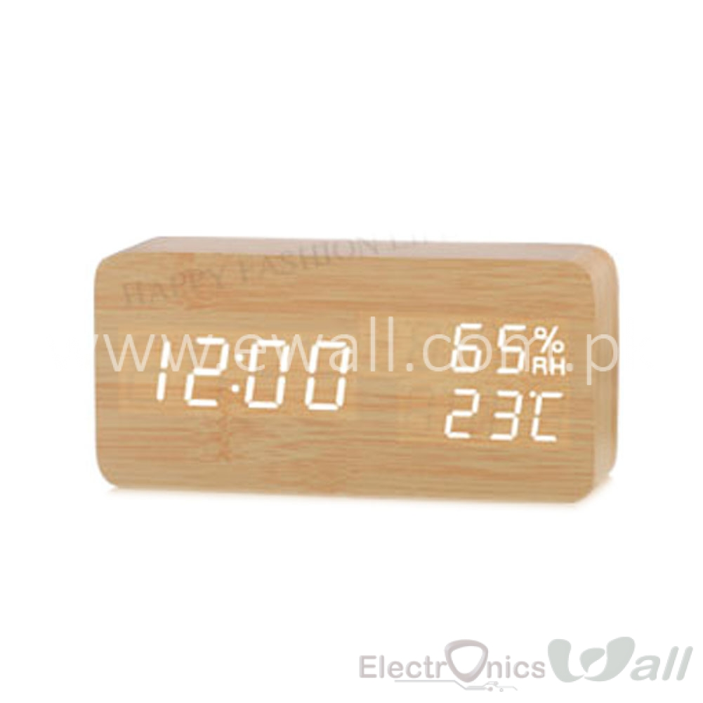 3 in 1 Clock, Temp, Calendar Wood Style Digital LED Table Clock (High Quality) - White LED