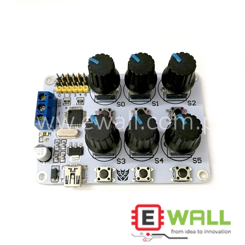 6-Channel Knob Servo Control Panel / Controller With Overload Protection For Easy Operation