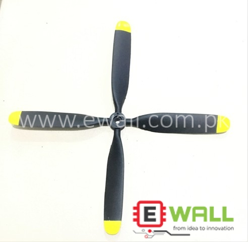 10x8 FMS Four Blade Propeller (Yellow / Red)