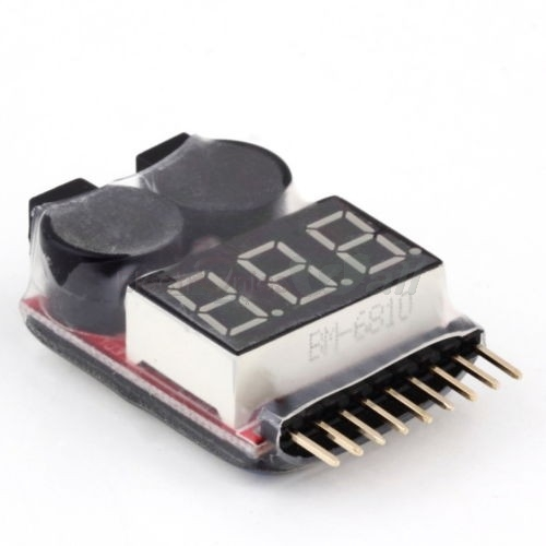 1-8S Lipo/Li-ion/Fe Battery Voltage Tester and Low Voltage Buzzer Alarm