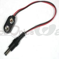 9v battery clip with 5.5mm/2.1mm plug