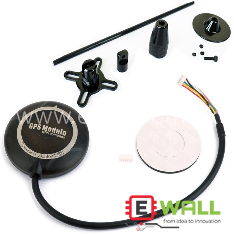 M8N Ublox GPS Module With Compass (Magnetometer) and Stand Compatible with apm 2.8/2.6/2.5
