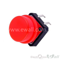 B3F Keys 12x12x7.3 Push Button with Rounded Cap RED