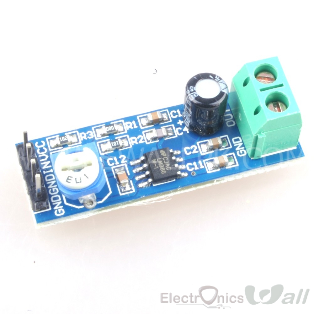LM386 Audio Amplifier Module Gain 200 , 5V-12V Input