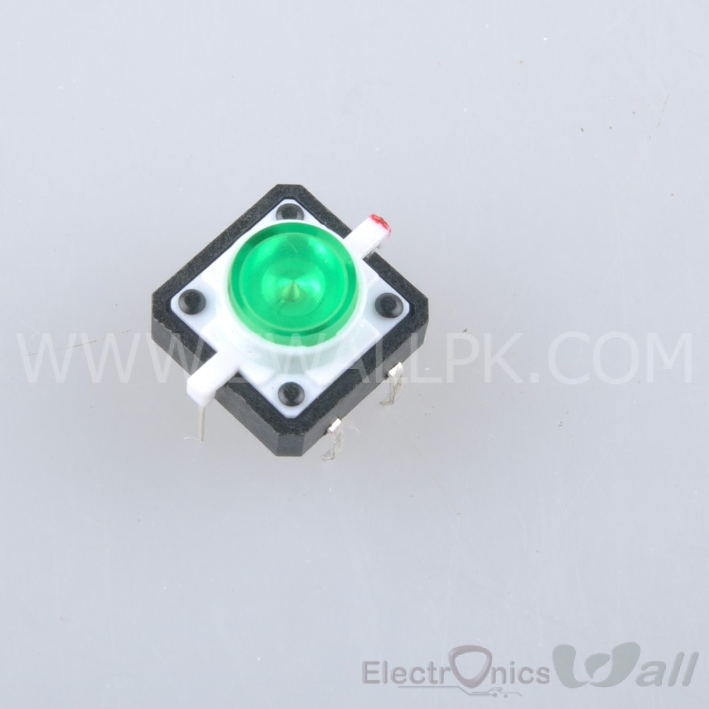 Green Tactile Push Button With LED 4pin Round Cap