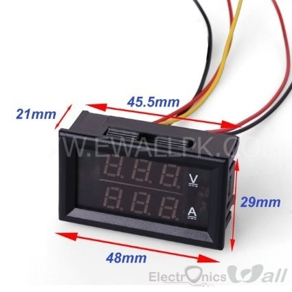 (0V -200V/ 50A-100A) Volt and Ampere Meter Red and Blue Display YB27VA