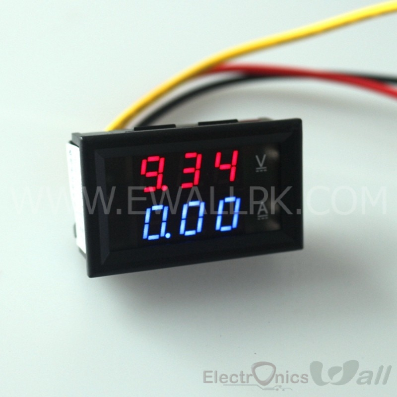 YB27VA DC 3.5-30V 10A Red display Volt Amp Meter 2in1, 3 wires