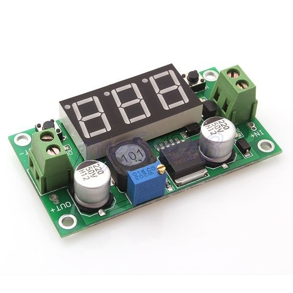 LM2596 Variable Voltage Regulator with Built in Voltmeter 4-40v to 1.3-37v, 2A MAX (Green)