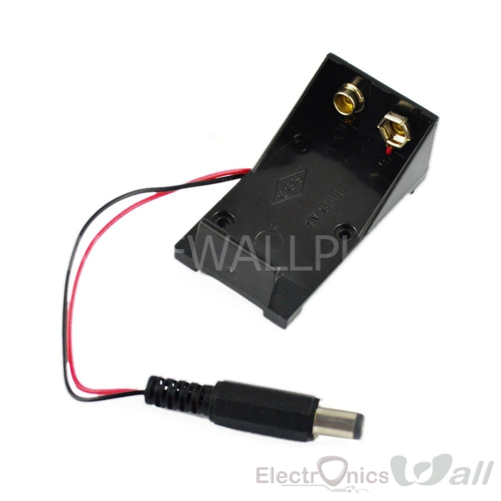 9V Battery Holder Box Case With DC Power Plug 5.5*2.1mm